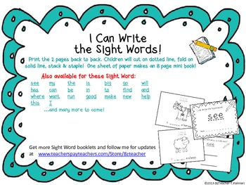 """I Can Write the Sight Word I"" Mini Book"