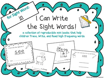 """""""I Can Write the Sight Word IN"""" Mini Book"""