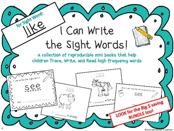 """I Can Write the Sight Word LIKE"" Mini Book"