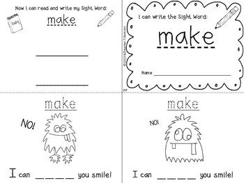 """I Can Write the Sight Word MAKE"" Mini Book"