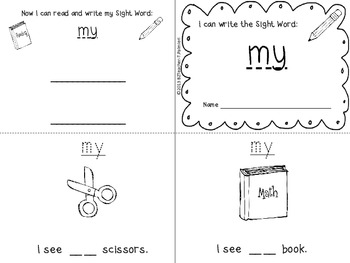 """I Can Write the Sight Word MY"" Mini Book"