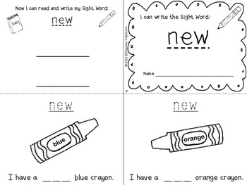 """""""I Can Write the Sight Word NEW"""" Mini Book"""