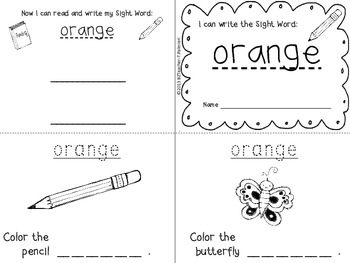 """I Can Write the Sight Word ORANGE"" Mini Book"
