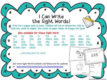 """I Can Write the Sight Word PURPLE"" Mini Book"