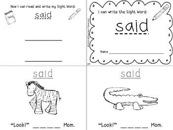 """I Can Write the Sight Word SAID"" Mini Book"