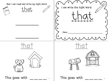 """""""I Can Write the Sight Word THAT"""" Mini Book"""