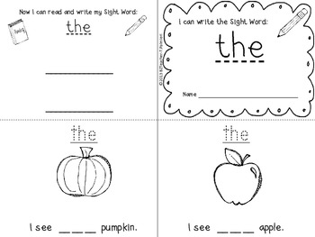 """""""I Can Write the Sight Word THE"""" Mini Book"""