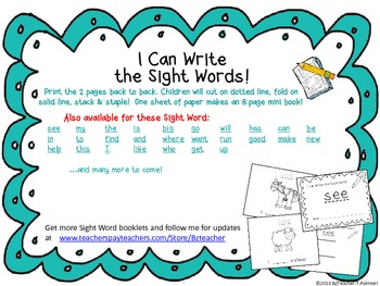 """""""I Can Write the Sight Word UP"""" Mini Book"""