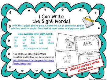 """""""I Can Write the Sight Word WANT"""" Mini Book"""