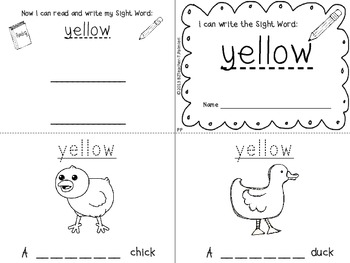 """I Can Write the Sight Word YELLOW"" Mini Book"
