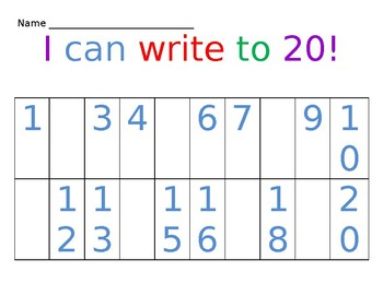 I Can Write to 20!