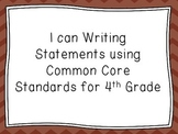 I Can Writing Statements With Common Core Standards