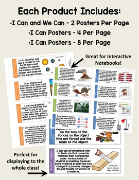 I Can and We Can Massachusetts Physical Science Standards Posters for Grades 6-8