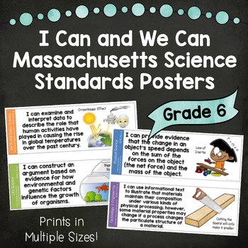 I Can and We Can Massachusetts Science Standards Posters for Grade 6