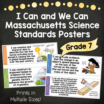 I Can and We Can Massachusetts Science Standards Posters for Grade 7