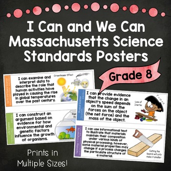 I Can and We Can Massachusetts Science Standards Posters for Grade 8