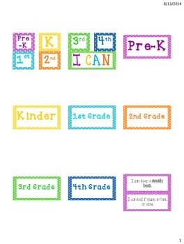 """I Can"" bulletin board for PreK-4th Grade Music"