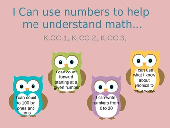 I Can statements Common Core Math- Kindergarten- owl theme