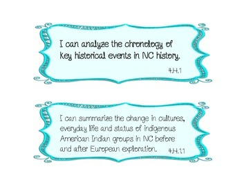 """""""I Can"""" statements Social Studies essential standards **All NC Standards**"""