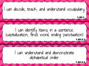 """I Can"" statements for 1st Grade Math and Reading"