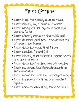 """I Can"" statements for 1st grade"