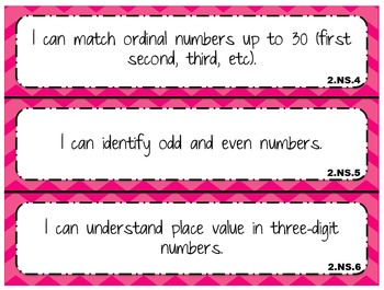 """""""I Can"""" statements for 2nd Grade Math and Reading"""