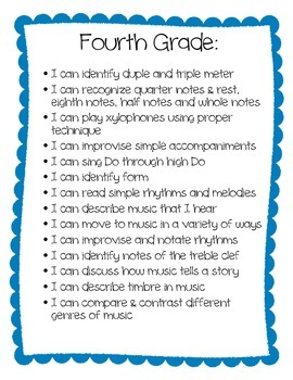 """I Can"" statements for 4th grade"
