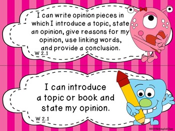 I Can statements for ELA Common Core Grade 2 Monster Theme