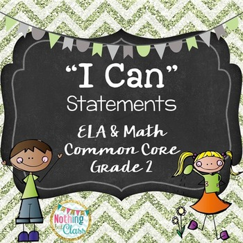 I Can statements for ELA and Math Common Core for Grade 2/Second Grade