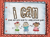 """I Can"" task cards and name cards"