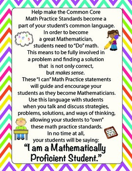 "Mathematical Practice Standards - Kid Friendly ""I Can..."" Statements"