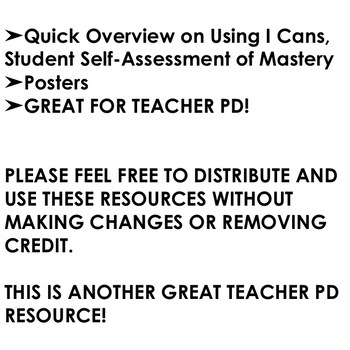 I Cans, Student Self-Assessment of Mastery Teacher PD Series