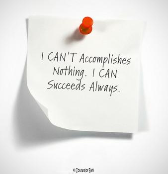 I Can't VS I Can Motivation 8.5 x 11 Poster Classroom Effort Success!!
