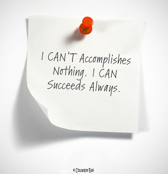 I Can't VS I Can Motivation 8.5 x 11 Poster Classroom Effo