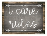 I-Care Rules - Rustic Chalkboard & Weathered Wood