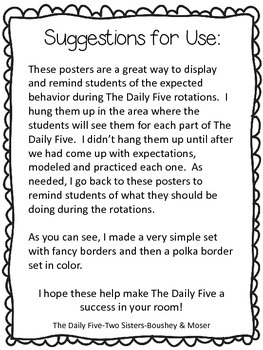 I Charts Posters~ The Daily Five