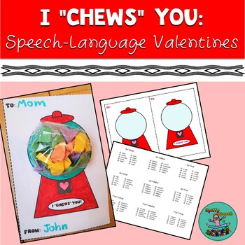 "I ""Chews"" You Valentine's Day Articulation, Speech Therapy Activity"
