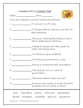 I Could Do That! Supplemental Activities 4th Grade Journeys Unit 5, Lesson 22