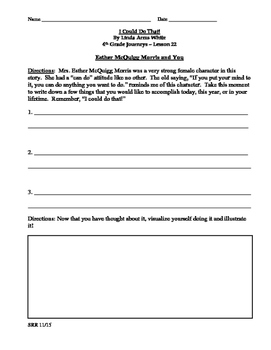 Journeys Common Core 4th- I Could Do That! Supplemental Packet for the SLP
