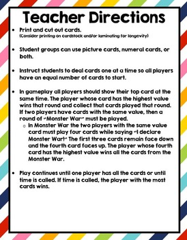 I Declare Monster War Deluxe ! A card game to compare 0 - 20
