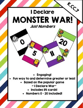 I Declare Monster War! A card game to compare numbers 0 - 20
