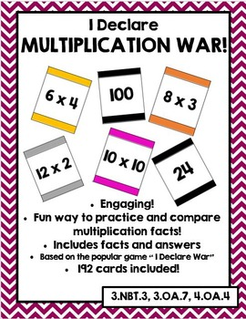 I Declare Multiplication War(Multiplication Fact Fluency Game)