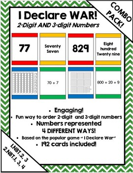 I Declare War! Place value & extended form card game - Math Dollar Deals