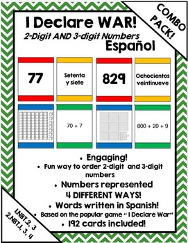 I Declare War! Place value & extended form card game  (Spanish)