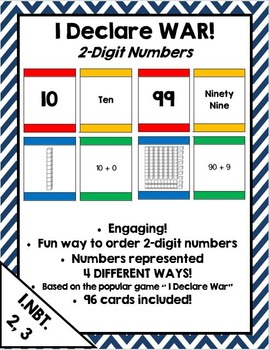 I Declare War! Place value & extended form card game for 2 digit numbers