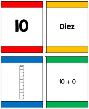 I Declare War! Place value/extended form card game for 2 digit numbers (Spanish)