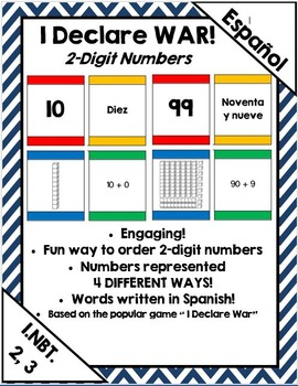 I Declare War! Place value card game (2 digit) (Spanish)