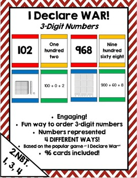 I Declare War! Place value & extended form card game for 3 digit numbers