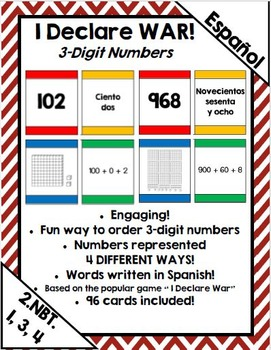 I Declare War! Place value/extended form card game for 3 digit numbers (Spanish)