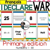 I Declare War! (Primary) Place value card game for numbers 1 - 30 in FRENCH!